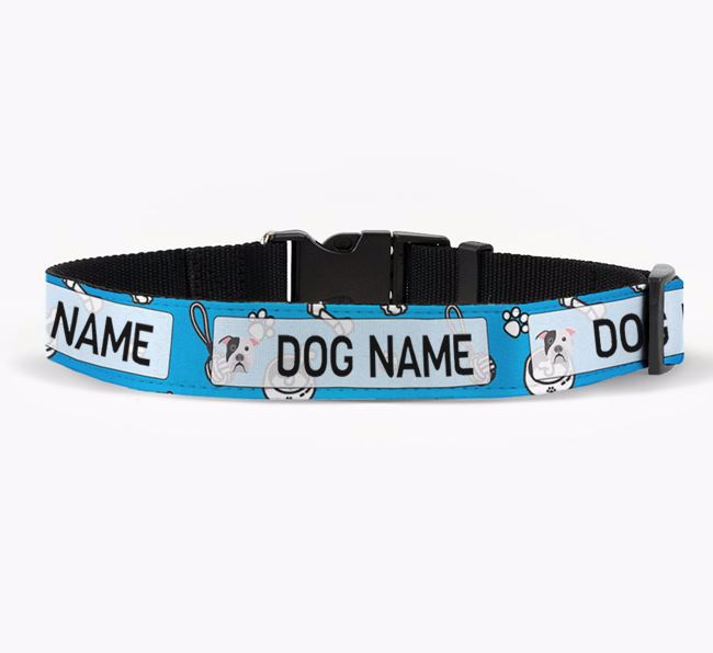 Personalised Fabric Collar with Dog Pattern and American Bulldog Icon for Your Dog