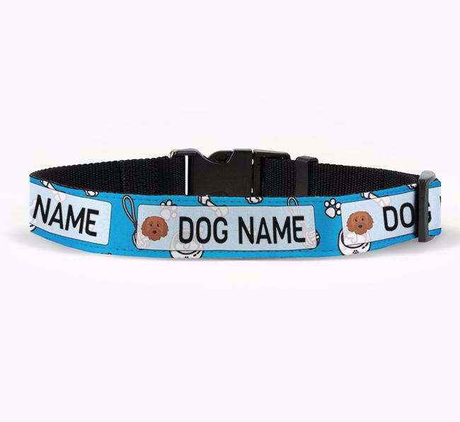 Personalised Fabric Collar with Dog Pattern and Cavapoochon Icon for Your Dog