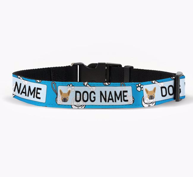 Personalised Fabric Collar with Dog Pattern and French Bulldog Icon for Your Dog