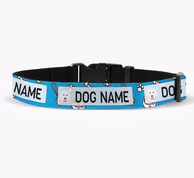 Personalised Fabric Collar with Dog Pattern and Hungarian Kuvasz Icon for Your Dog