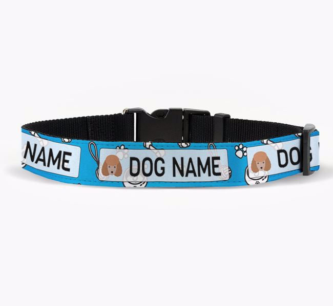 Personalised Fabric Collar with Dog Pattern and Miniature Poodle Icon for Your Dog