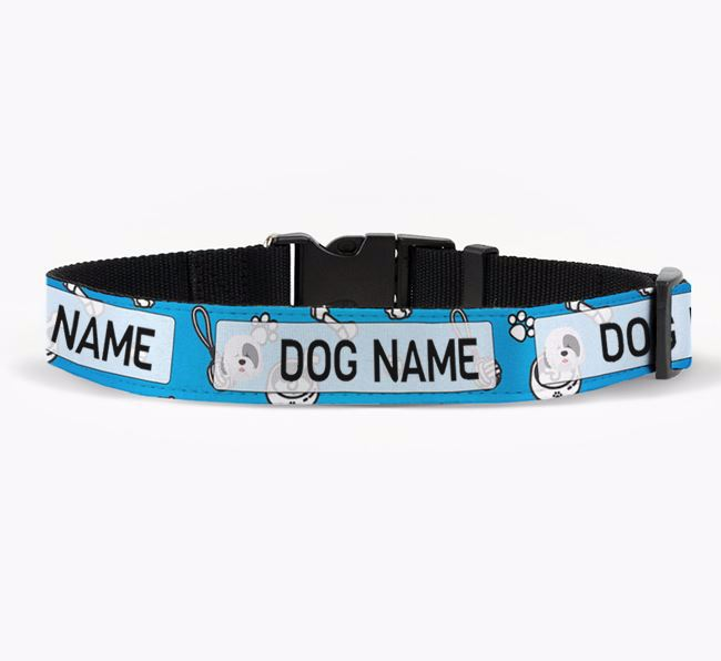Personalised Fabric Collar with Dog Pattern and Old English Sheepdog Icon for Your Dog