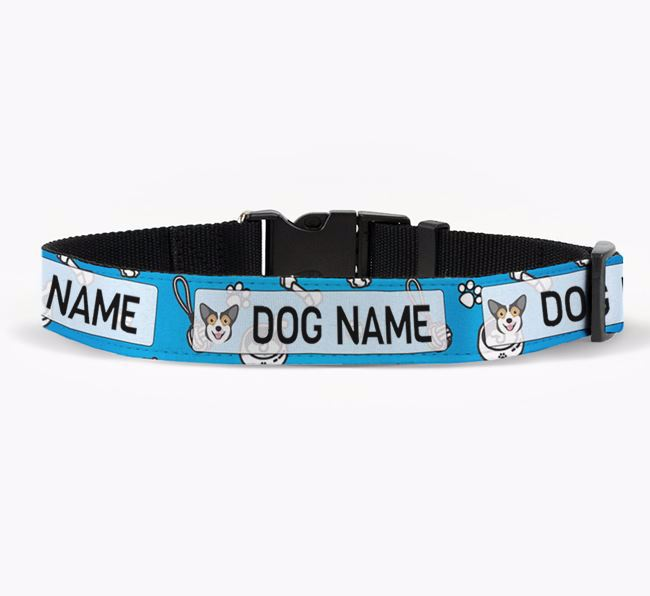 Personalised Fabric Collar with Dog Pattern and Pembroke Welsh Corgi Icon for Your Dog