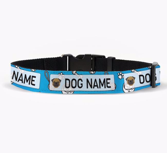 Personalised Fabric Collar with Dog Pattern and Pug Icon for Your Dog