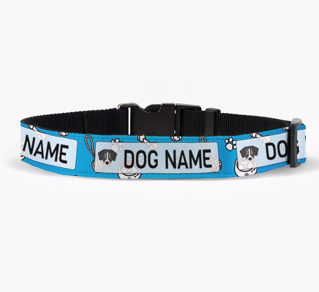 Personalised Fabric Collar with Dog Pattern and Siberian Cocker Icon for Your Dog