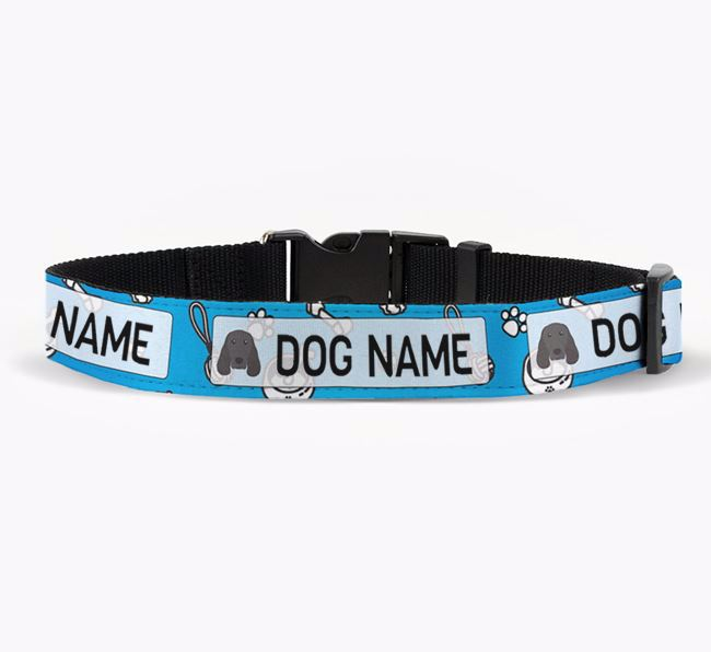 Personalised Fabric Collar with Dog Pattern and Springer Spaniel Icon for Your Dog