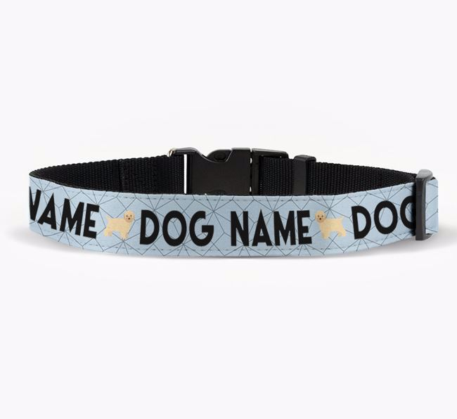 Personalised Fabric Collar with Doughnuts and Bich-poo Icon for Your Dog
