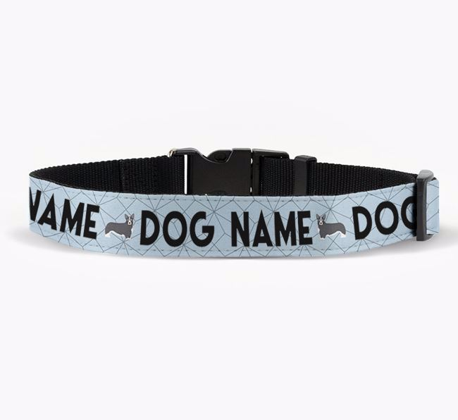 Personalised Fabric Collar with Doughnuts and Corgi Icon for Your Dog