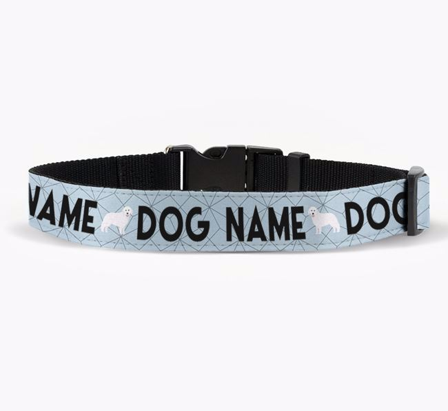 Personalised Fabric Collar with Doughnuts and Hungarian Kuvasz Icon for Your Dog