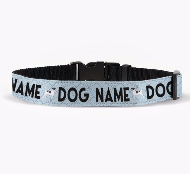 Personalised Fabric Collar with Doughnuts and Jack Russell Terrier Icon for Your Dog