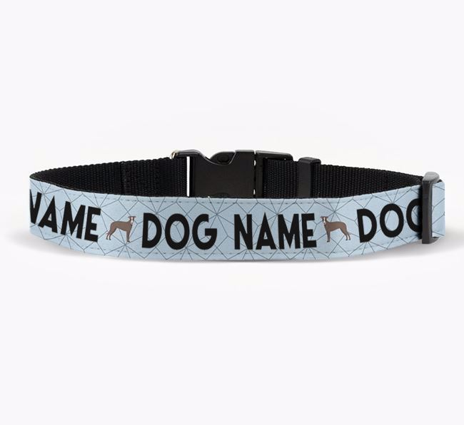 Personalised Fabric Collar with Doughnuts and Lurcher Icon for Your Dog