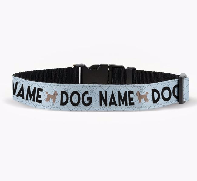 Personalised Fabric Collar with Doughnuts and Miniature Poodle Icon for Your Dog