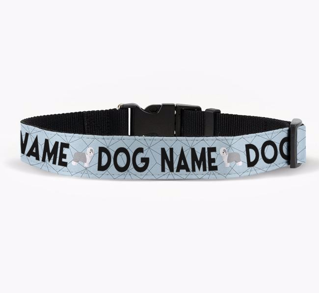 Personalised Fabric Collar with Doughnuts and Old English Sheepdog Icon for Your Dog