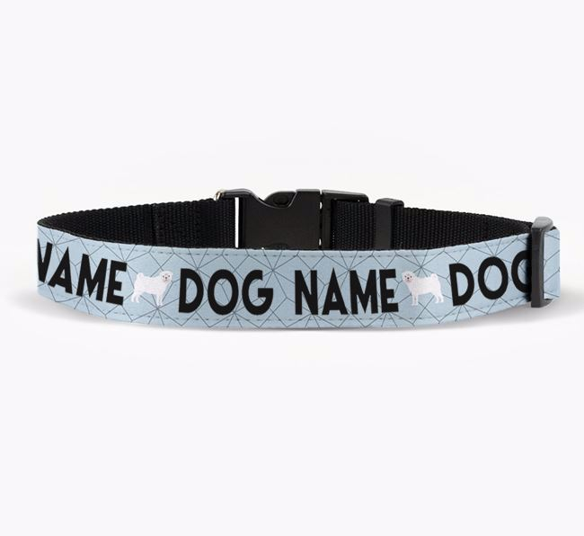 Personalised Fabric Collar with Doughnuts and Pug Icon for Your Dog