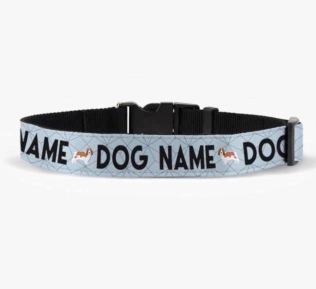 Personalised Fabric Collar with Doughnuts and Springer Spaniel Icon for Your Dog