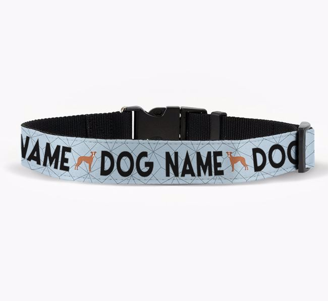Personalised Fabric Collar with Doughnuts and Whippet Icon for Your Dog