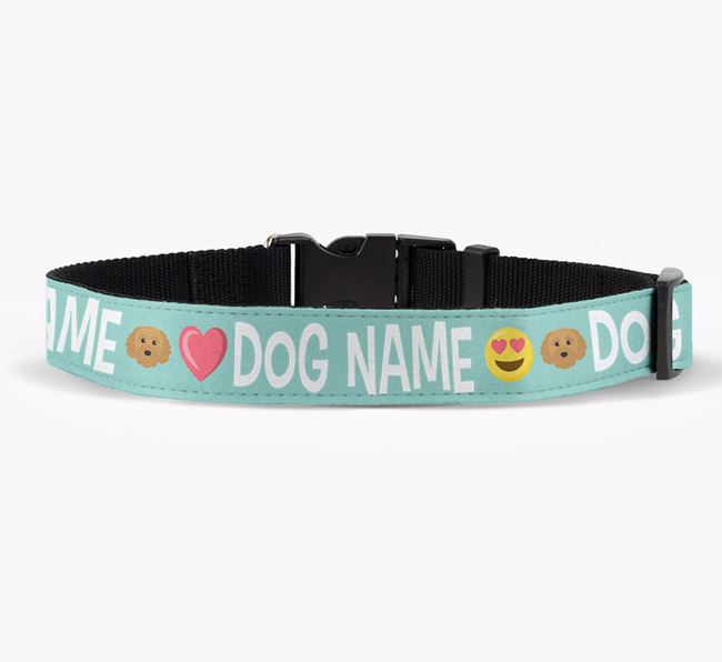 Personalised Fabric Collar with Emojis and Cavapoochon Icon for Your Dog