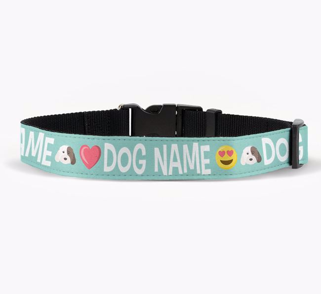 Personalised Fabric Collar with Emojis and Cockapoo Icon for Your Dog