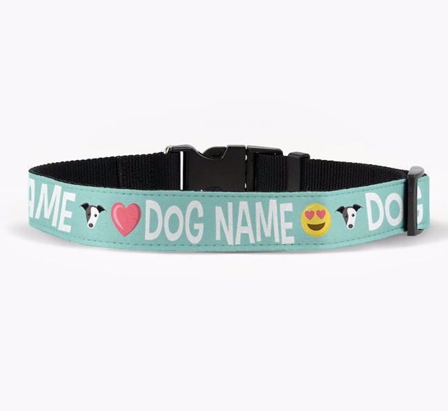 Personalised Fabric Collar with Emojis and Greyhound Icon for Your Dog