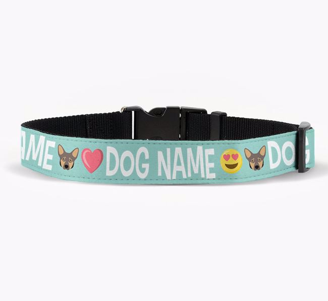 Personalised Fabric Collar with Emojis and Lancashire Heeler Icon for Your Dog