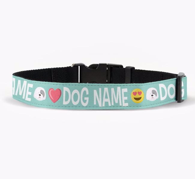 Personalised Fabric Collar with Emojis and Old English Sheepdog Icon for Your Dog