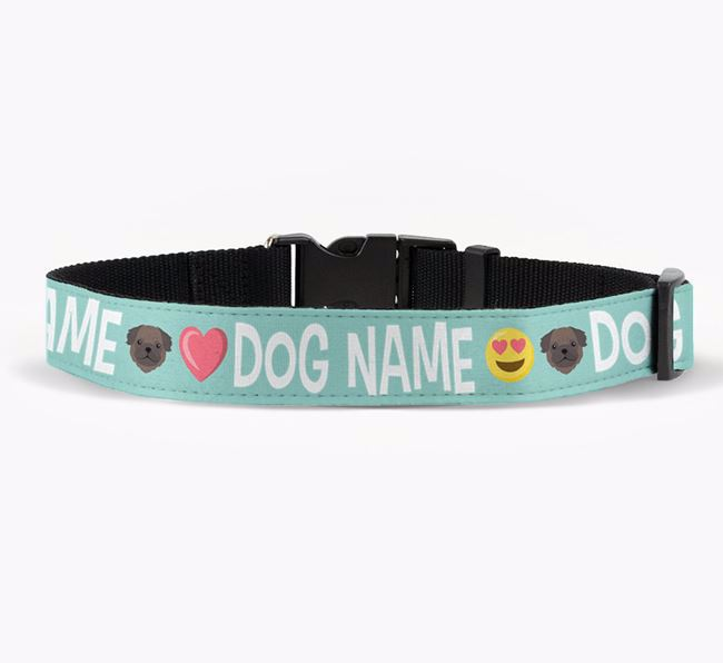 Personalised Fabric Collar with Emojis and Pug Icon for Your Dog