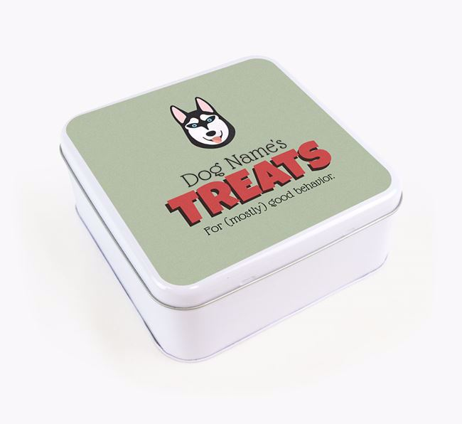 Personalised Retro Design Square Tin for your Siberian Husky