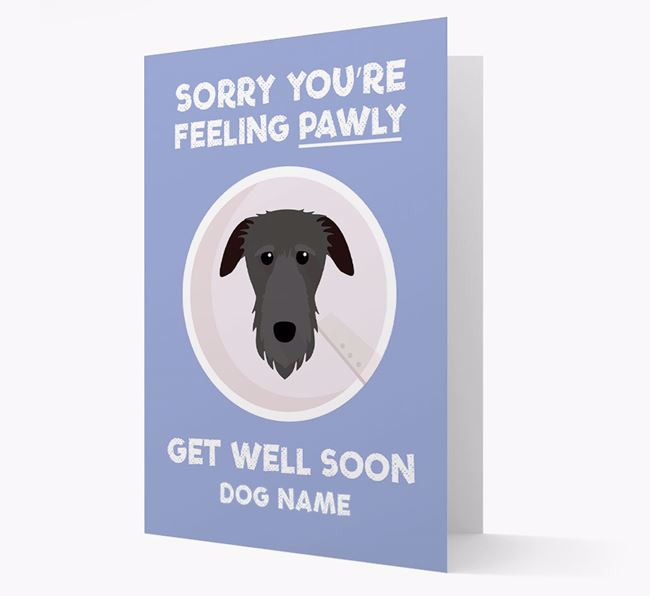 Personalized 'Sorry you're feeling pawly, get well soon Your Dog' Card