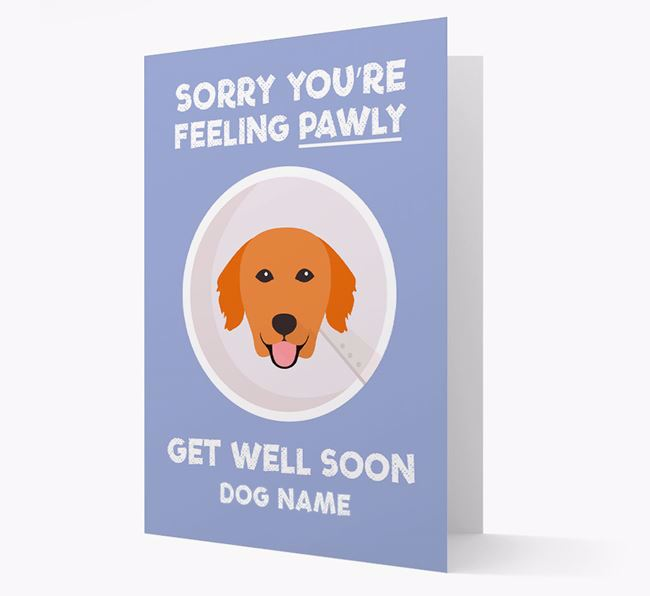 Personalised 'Sorry you're feeling pawly, get well soon Your Dog' Card