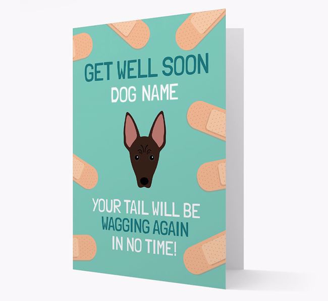 Personalized 'Get well soon Your Dog' Card with American Hairless Terrier Icon