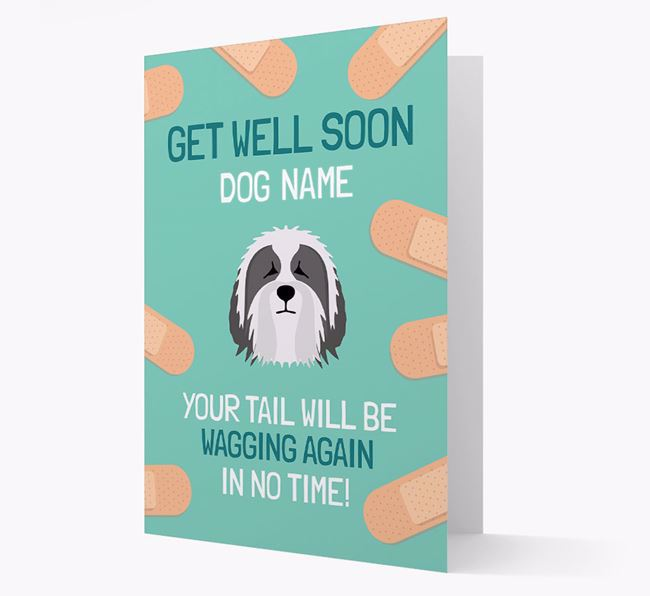 Personalized 'Get well soon Your Dog' Card with Bearded Collie Icon