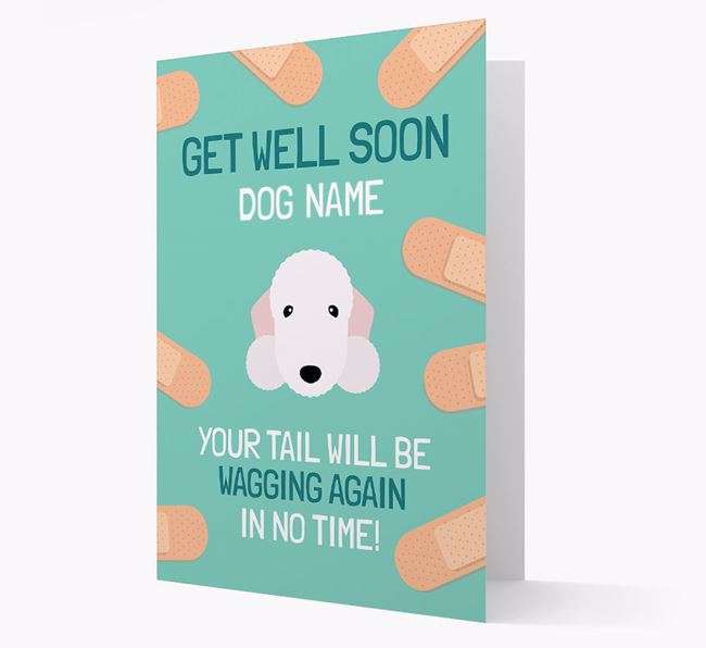Personalised 'Get well soon Your Dog' Card with Bedlington Terrier Icon