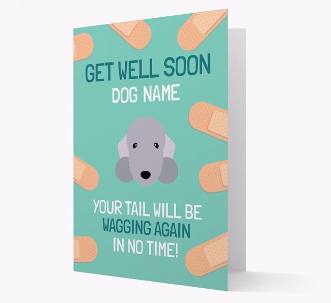 Personalized 'Get well soon Your Dog' Card with Bedlington Terrier Icon