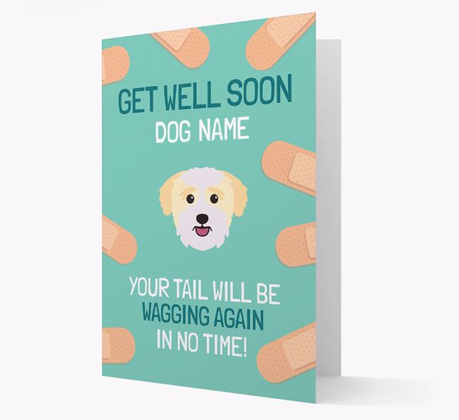 Personalized 'Get well soon Your Dog' Card with Bichon Yorkie Icon