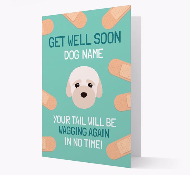 Personalized 'Get well soon Your Dog' Card with Bich-poo Icon