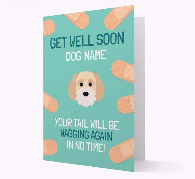 Personalized 'Get well soon Your Dog' Card with Cavapoochon Icon