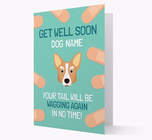 Personalized 'Get well soon Your Dog' Card with Corgi Icon