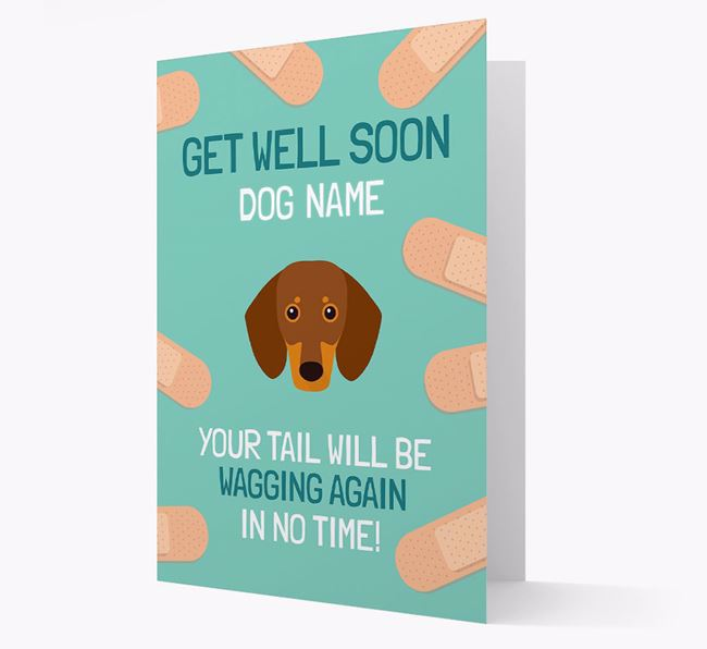 Personalized 'Get well soon Your Dog' Card with Dachshund Icon