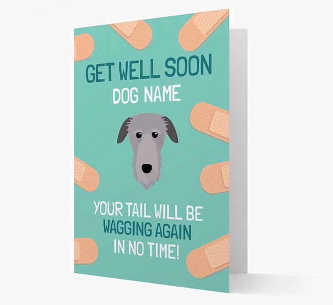 Personalized 'Get well soon Your Dog' Card with Deerhound Icon