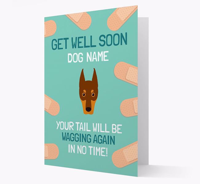 Personalized 'Get well soon Your Dog' Card with Dobermann Icon
