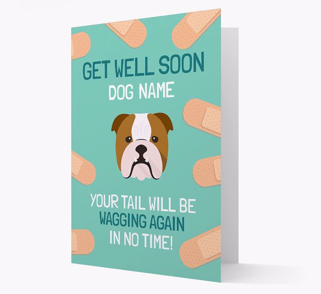 Personalized 'Get well soon Your Dog' Card with English Bulldog Icon
