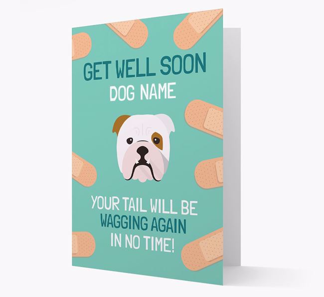 Personalised 'Get well soon Your Dog' Card with English Bulldog Icon