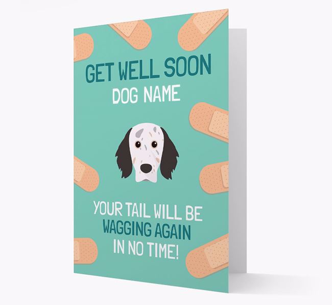 Personalized 'Get well soon Your Dog' Card with English Setter Icon