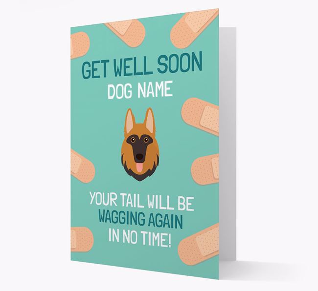 Personalised 'Get well soon Your Dog' Card with German Shepherd Icon