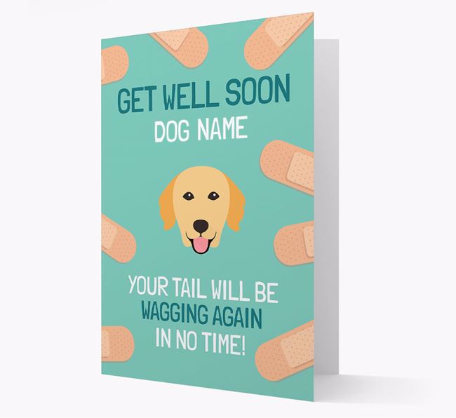 Personalized 'Get well soon Your Dog' Card with Golden Retriever Icon