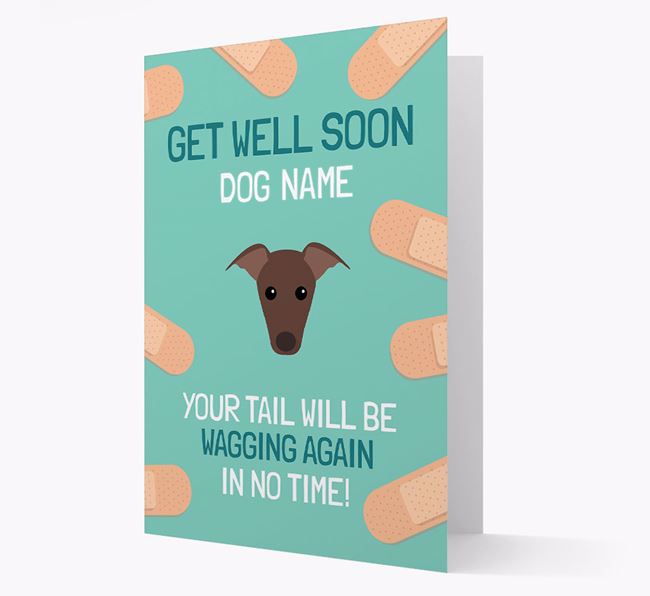 Personalized 'Get well soon Your Dog' Card with Greyhound Icon