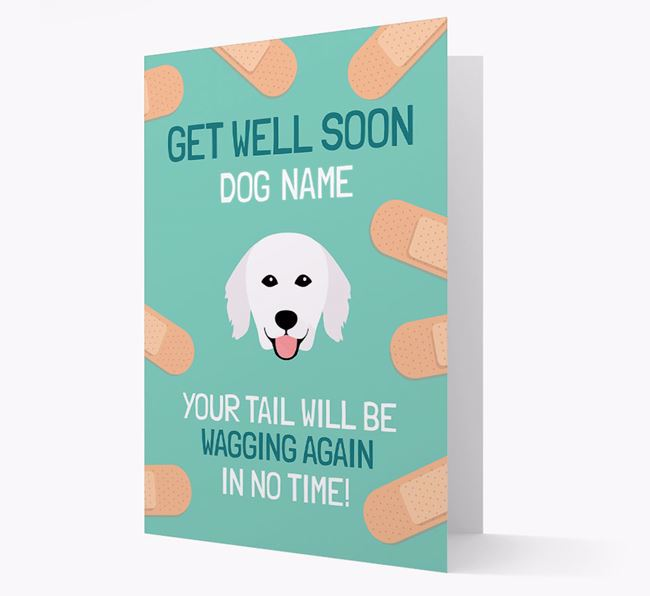 Personalized 'Get well soon Your Dog' Card with Hungarian Kuvasz Icon