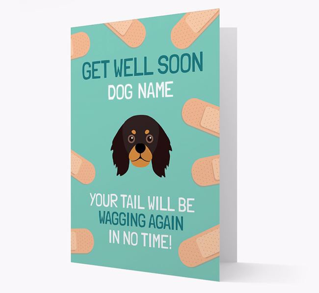 Personalized 'Get well soon Your Dog' Card with King Charles Spaniel Icon