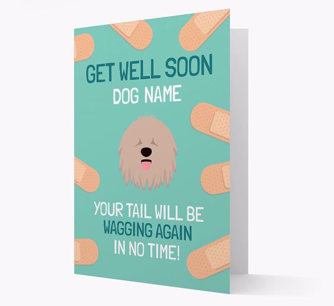 Personalised 'Get well soon Your Dog' Card with Komondor Icon