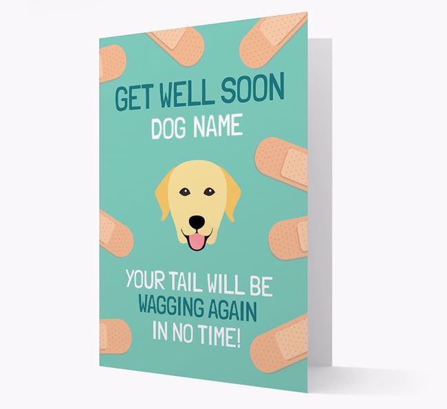 Personalized 'Get well soon Your Dog' Card with Labrador Retriever Icon